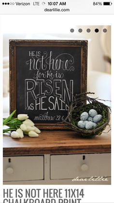 """Order this high quality print and when it arrives just pop it into a frame for instant """"chalkboard"""" art. This has been professionally. Chalkboard Print, Chalkboard Lettering, Scripture Crafts, Dear Lillie, Easter Crafts, Easter Decor, Wooden Signs, Easter Eggs, Valentines"""