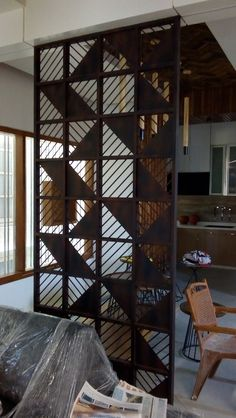 Interior Purpose Partition Wall made of Mild Steel Wooden Partition Design, Wooden Partitions, Living Room Partition Design, Room Partition Designs, Balcony Grill Design, Grill Door Design, Exterior Wall Panels, Stone Wall Design, Ceiling Design