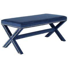 Melanie Navy Extended Bench @Zinc_Door #zincdoor #navy #blue #modern #decor #furniture #velvet #nailhead #bench #seating