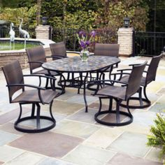 Awesome Outdoor Dining Set With Newport Swivel Chairs Found At @