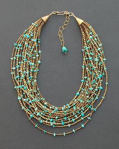 Turquoise multi strand necklace created with 17 strands of tribal brass beads from India and genuine turquoise nugget beads from both the Kingman and No. One of a kind ethnic jewelry by Angela Lovett Designs Collier Turquoise, Turquoise Beads, Turquoise Necklace, Kingman Turquoise, Bleu Turquoise, Multi Strand Necklace, Diy Necklace, Necklace Designs, Necklace Ideas