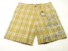NWT Robert Graham Men's Yellow Ocean Embroidered Check Cotton Shorts SZ 30 #RobertGraham #DressShorts