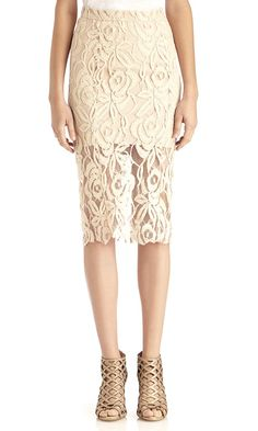 Elegant nude lace pencil skirt