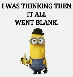 I was thinking, then it all went blank. - minion