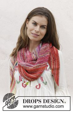 Rio  - Knitted shawl with garter stitch. The piece is worked in DROPS Fabel. Free knitted pattern DROPS 187-15