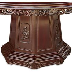60 in Rosewood Dragon and Phoenix Mother Pearl Inlay Round Dining Table with 10 Chairs