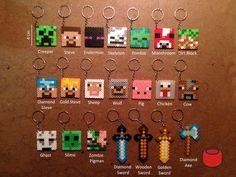 Minecraft Keychains Magnets Pins and Charms from Perler Beads by DJbits
