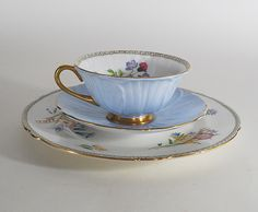 Shelley Trio, the Wild Flowers pattern, Porcelain, China, Vintage