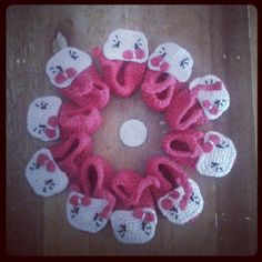 Crafts by Momaye: Crochet Booties with white Kitty face for Souvenir