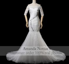 2015 New Model Luxury Full Pearls Mermaid Wedding Dress Half Sleeve Real  Photos Half Sleeve Dresses 7bd54e2997d5