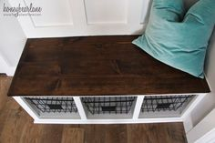 Every house needs a place for coats and shoes, and a mudroom needs a bench! This DIY mudroom bench is sure to fit in most spaces and wasn't too tricky! Chair Bench, Diy Chair, Mudroom Bench Plans, Diy Bank, Diy Storage Bench, Bench Designs, Layout, Bathroom Furniture, Bathroom Cabinets
