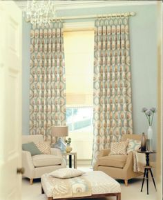Grey And Cream Combine Motive Curtain Ideas For Large Windows In ...