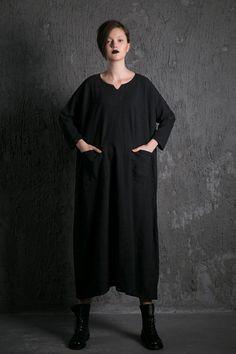 Black linen Dress Loose-Fitting dress- Casual Everyday Maxi Plus Size Linen…