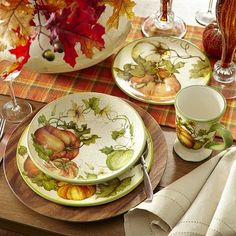 Pier One Harvest Garden Dinnerware. Thanksgiving Dinnerware and Entertaining Pieces & Harvest 3-D Pumpkin Candy Plate by Susan Winget - Certified ...