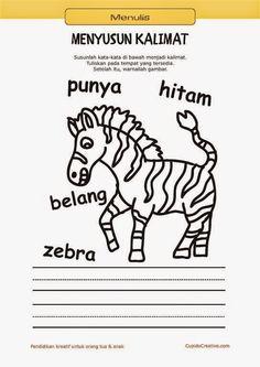belajar membaca & menulis anak TK/SD, menyusun kata menjadi kalimat & mewarnai gambar zebra