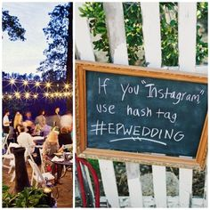 Chalkboards. We love this trend! Are you asking your guests to use a hashtag? You should! That way you won't miss a moment...You can write your own #EventHashtag on the chalkboard and display it right next to the Cell Phone Charging Table. Great Trend! photo from  CaplanMiller.com  Chalkboards for everything 2