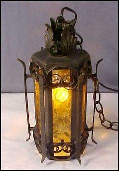 1930 Medieval Gothic Spanish Revival Wrought Iron Pendant Light   Scrolled  Chandelier W/Stained Glass Panels   Home Décor Swag Light