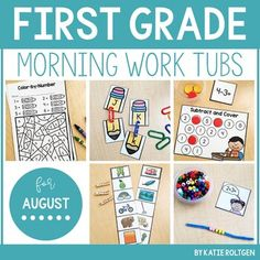 Start your day in first grade with morning work tubs you and students love! This includes 25 #morningwork tub activities for first grade in August. There are 10 literacy activities, 10 math, & 5 fine motor. The routine stays the same each month because the materials stay the same! Replace old #activities, replenish any materials, and you're set! You get a grid layout of the #morningtubs. Work with magnetic letters, playdough, beads, pipe cleaners, & more. Great for first graders! #1stGrade