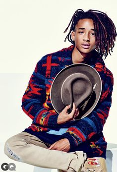 Jayden Smith featured in GQ Magazine wearing the Polo Ralph Lauren cardigan. Knit by hand in a striking Southwestern-inspired pattern, this wool-blend cardigan will give any look a graphic boost. Wear it with a Henley shirt and cargo pants, adding lace-up boots for a rugged finish.