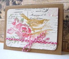 Lovely Bird Card...with string bow.
