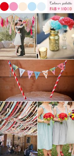 retro wedding,red blue vintage wedding ideas  Love the ribbons across the exposed beams