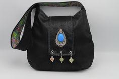 Beaded Floral Black Boho/Bohemian Hobo Purse/Handbag/Shoulder Bag with Turquoise in Faux Leather — Happy Bohemian – Purses And Handbags Boho Black Handbags, Purses And Handbags, Luxury Handbags, Leather Clutch Bags, Easy Wear, Black Faux Leather, Leather Shoulder Bag, Bohemian Bag, Turquoise
