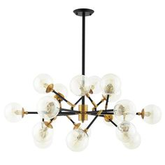 Modway Furniture Modern Sparkle Amber Glass And Antique Brass 18 Light Mid-Century Pendant Chandelier - Sputnik Chandelier, Black Chandelier, Ceiling Pendant, Chandelier Lighting, Ceiling Lights, Chandeliers, Antique Brass Chandelier, Mid Century Modern Chandelier, Industrial Chandelier