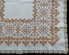 Vintage cross stitch tablecloth by DoiliesLaceCrafts on Etsy