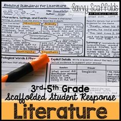 3rd 4th 5th Grade Reading Literature Student Response for