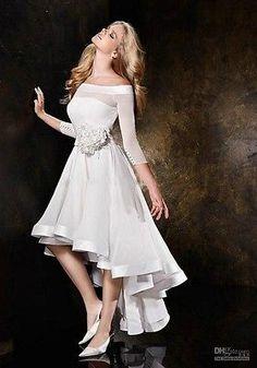 A-Line Chiffon Short Front Long Back Bridal Gown Wedding Dress Custom Made-EBay