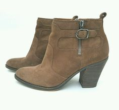 LUCKY BRAND 'Everalda' Brown Suede BOOTIES ANKLE BOOTS 8.5M   | eBay
