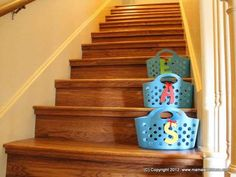 I love these baskets! We have quite a few in our home already!!  Put dollar store baskets on the stairs for your kids to put their loose toys.