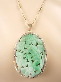 Vintage estate 14 kt translucent green w snow vein jade w old green vintage estate 14 kt translucent green w snow vein jade w old green button jade pendant jade jewelry and jade aloadofball Gallery