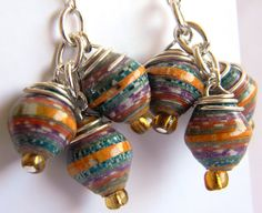 Paper Bead Jewelry - Cluster Earrings - #CGM204 by BeadAmigas on Etsy https://www.etsy.com/listing/175654416/paper-bead-jewelry-cluster-earrings