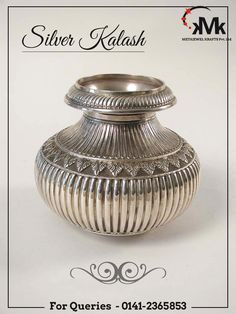 Book Your Order Now!!!!! The sacred essential of home,pure silver kalash and the graceful curves add to its alluring beauty. Crafted from high quality silver with ever shining grace. You can also gift these lamps to your loved ones to cherish the sparkling smile on their face. #meta #jewel #silver #picture #frame #jewellery #box #kalash #roses #pooja #thali #jali #tray #basket #jar #barni #table #watch #candle #stand #corporate #gift #pinkcity #jaipur #rajasthan