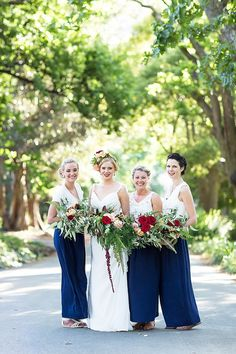 bride and bridesmaids - photo by Wesley Vorster Photography http://ruffledblog.com/eclectic-botanical-wedding-in-south-africa