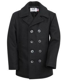 Schott 740 Wool Pea Coat - Navy