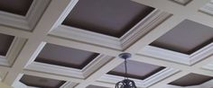 excellent coffered ceiling ideas with luxury chandelier light, square ceiling, wooden plafond, and curtain Houses Architecture, Architecture Details, Ceiling Detail, Ceiling Design, Ceiling Ideas, Ceiling Color, Dropped Ceiling, Drop Ceiling Tiles, White Ceiling
