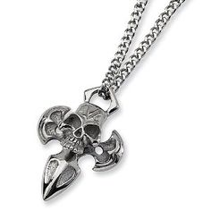 Chisel Polished Stainless Steel Skull and Cross Necklace on 24 Inch Chain