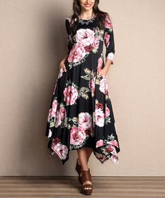 Loving this Black Floral Handkerchief Maxi Dress on #zulily! #zulilyfinds