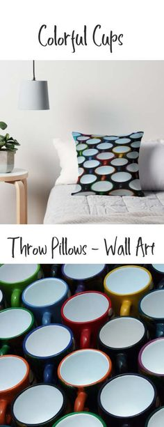 A throw pillow with colorful cup designs. Buy it here: https://www.redbubble.com/people/rhamm/works/10875290-cups-at-the-market?asc=u&grid_pos=36&p=throw-pillow&rbs=738d4eb3-9b37-4dde-9683-2777e5f62550&ref=artist_shop_grid