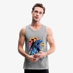 Schoom Designs | Screaming Tyrannosaurus Rex - Men's Premium Tank Tyrannosaurus Rex, Retro Design, Mens Fitness, Fabric Weights, Cool T Shirts, Pop Culture, Heather Grey, Tank Man, Shirt Designs