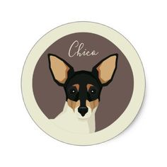 Toy Fox Terrier Illustration Classic Round Sticker - animal gift ideas animals and pets diy customize