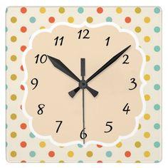 Vintage Retro Polka Dot Kitchen Clock