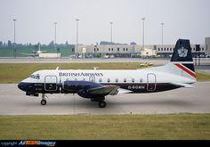 "British Airways Hawker Siddeley HS 748 2A/347 G-BGMN ""Glen Finnan"" at Birmingham-International, July 1986. (Photo: Keith Blincow)"