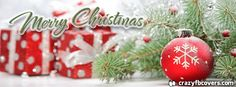 Red Christmas Ornaments and Presents Merry Christmas Facebook Cover - Facebook Timeline Cover Photo - Fb Cover