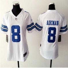 women dallas cowboys 8 troy aikman ware white game jersey 22.5 nike
