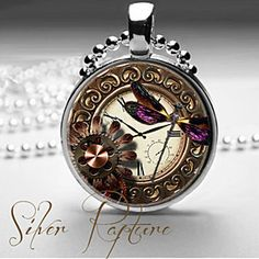 Steampunk Dragonfly Gears and Watch Glass Photo Pendant and Silver Necklace by ChicBridalBoutique on Opensky