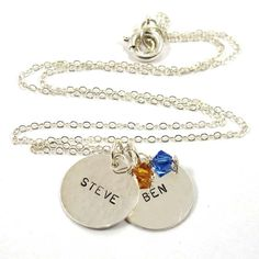 Personalized Necklace 2 Names with Birthstones  by SariGlassman, $44.00