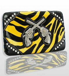 Cool Yellow Zebra Fashion Double Pistol Wallet With Rhinestones